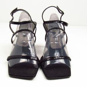 Nine West N-GABELLE3 BlackShiny Strap Sandals 9.5M
